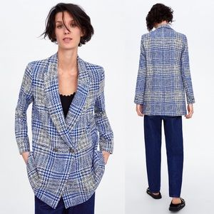 Zara Frock Blazer Coat Plaid Pronounced Shoulders
